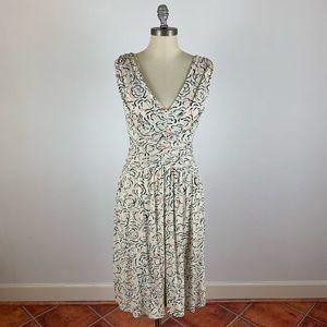 Anthropologie Deletta Tan Rose V Neck Dress